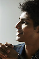 head shot of young man in profile - Asia Images Group