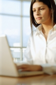 Female executive working on laptop - Asia Images Group