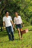 Couple walking in park, woman carrying picnic basket - Asia Images Group