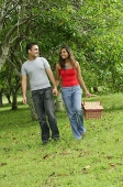 Couple walking in park, holding hands, woman carrying picnic basket - Asia Images Group