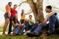Group of young adults in park - Asia Images Group
