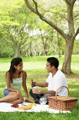 Couple in park, having a picnic - Asia Images Group