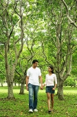 Couple walking in park, holding hands - Asia Images Group