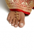 Close-up of woman's feet with toe ring - Asia Images Group
