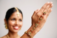 Woman with Indian hand jewellery, focus on the hand - Asia Images Group