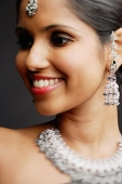 Head shot of woman with Indian jewellery - Asia Images Group