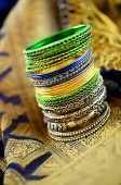 Still life with Indian bangles and sari - Asia Images Group