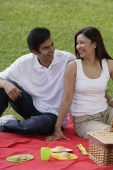 A couple have a picnic together in the park - Asia Images Group