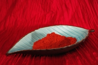 A leaf shaped bowl containing turmeric spice - Asia Images Group