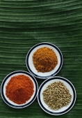 Still life of curry and masala powder on a banana leaf - Asia Images Group