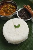 Still life of mixed vegetable curry and basmati rice - Asia Images Group