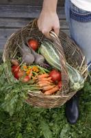 woman holding basket of garden vegetables - Alex Mares-Manton
